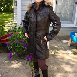 Knoles & Carter Leather & Insulated Winter Coat XL